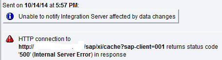 sap xi cache error